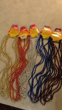 "Mardi Gras Beads Necklaces Party Favors 5 paks of 4 7mm 32"" with tags"