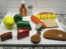 Lot of Pretend Wooden Play Food - Fruits & Vegetables full size pull apart