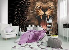 312x219cm Wall mural photo wallpaper Roaring abstract Lion bedroom + adhesive