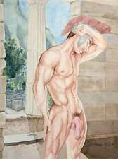 Oh boy, homme nu, watercolor print nude male Leonidas at Delphi gay interest