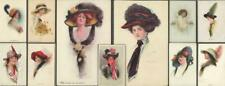 Lot x 11  Artist Glamour Postcards - Fashionable Ladies in Large Hats