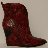 """NEW!! Jessica Simpson Hilrie Red Ankle Boots 3.5"""" Wedge Heels Size 7.5M US 37.5"""