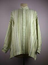 eskandar, 0, 100% Linen, green gray striped, box tunic, long sleeve, top, women