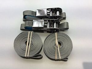 316 Stainless Steel Ratchet Strap Grey LOOPS 6m Boat Sailing Dinghy Rib Trailer