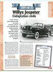 Willys Jeepster 1948 USA Car Auto FICHE FRANCE
