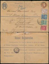 GB KE7 REGISTERED STATIONERY + QV JUBILEE 2 REIGN HUTH PERFINS UPRATED to LUBECK