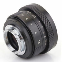 Mirrorless 25mm F1.4 C-Mount Lens for APS-C Camera M4/3 FX EOSM N1 P/Q NEX