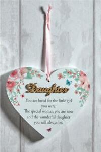 3D LOVE HEART SHAPED HANGING PLAQUE FOR DAUGHTER SUPER GIFT SENTIMENT SIGN