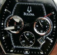 Bulova Date Black Dial Chronograph C8671151 Watch Analog Quartz New Battery Men