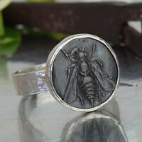 Omer Sterling Silver Hammered Flat Band Oxidized Bee Coin Ring Turkish Jewelry