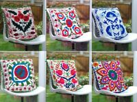 Indian Home Decor Cotton Suzani Embroider Floor Handmade Cushion Covers 16 inch