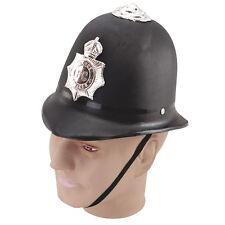 British UK #police elmetto rigido nero adulto Fancy Dress Party Accessorio