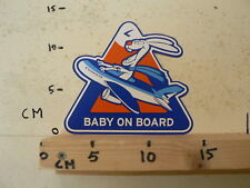 STICKER,DECAL ESTONIAN AIR BABY ON BOARD LARGE 15 CM AIRPLANE RABBIT