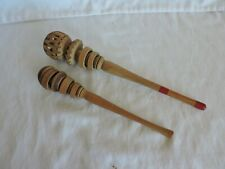 Pair of Mexican Chocolate Wood Whisk Stirrers Frothers