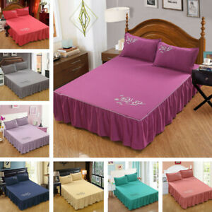 2021 Drop Dust Ruffle Bed Skirt Fitted Bedding Sheet Drop Full Bedspread Solid