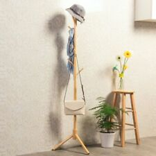 Coat Rack Wooden 8 Hooks Hats Hook Hanger Metal Standing Wood Tree Stand Home