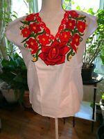 Maya Mexican Blouse Top Shirt Embroidered Flowers Chiapas White Orange Medium N9