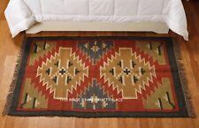 Large Wool Jute Kilim Rose Green Blue 91x150cm Quality Hand Made reversible rug
