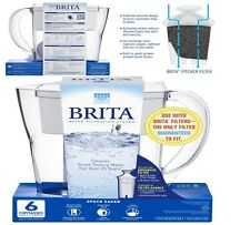 Brita 6 Cup Slim BPA Free Water Pitcher with 1 Filter, White New, Free Shipping