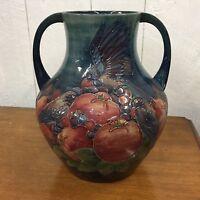 Moorcroft Finch & Fruit Marked WM William Moorcroft Vase England
