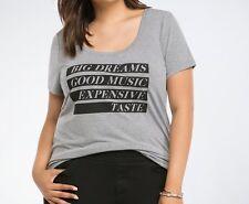 TORRID T-Shirt Top 0/0X LG Gray Knit Rockabilly Tee BIG DREAMS GOOD MUSIC Plus