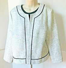 NWOT Ann Taylor Open suit jacket Blazer White Black Tweed Sz 14 Lined