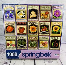 """Springbok Puzzle 1000pc Seed Packets Garden Puzzle 24x30"""" Large Pcs NEW Sealed"""