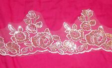 white silver sequin patch Bridal lace applique motif venise dress dance costume