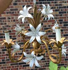 Vintage Toleware DAYLILY CHANDELIER Hanging Lamp Italian Gold Tole Lilies Gilt