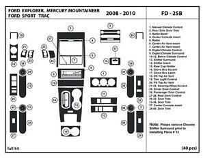 Dash Trim Kit for Ford Explorer / Mercury·Mountaineer 2008-2010 Interior Overlay