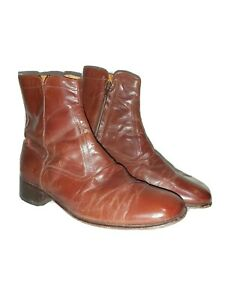 Mens Vintage Florsheim Boots Leather Hipster Ankle Boots Zip Up Sz9 M