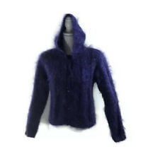 Carole Little Purple Mohair Buttoned Hoodie Cardigan Sweater Petite Small