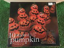 New Set Of Ten Halloween Triple Stacked Jack-O-Lantern Pumpkin Blow Mold Lights