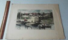 Intaglio Etching Hand Painted Foot Of Wall Street And East River In 1684 Meeker