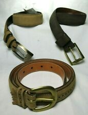 Faconnable Tulliani Tan Brown Leather Cashmere Suede Belts Hand Tooled 3 Sz 34