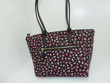 NWT New Michael Kors Handbag Nylon Kelsey Medium Top Zip Tote Black Ultra Pink