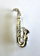 Brooch Silver Plated Saxophone Crystal Pin Sax Musical Instrument Free Shipping