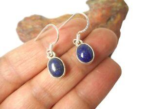Blue Oval  LAPIS  LAZULI  Gemstone  Sterling  Silver  925 Earrings