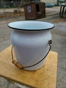 Vintage White Enamel Chamber POT Diaper PAIL. Wood Handle Black Trim