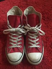 Red Converse High Tops Size 8
