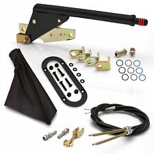 Floor Mount Black Emergency Parking Brake Black Boot Black Ring and Cable Kit