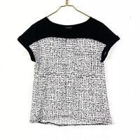 Calvin Klein Womens S Black White Sheer Dot Print Top Short Sleeve
