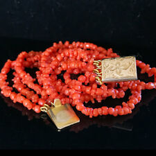 Antique, Georgian, Gold, Genuine Red coral bracelet with foliate push-in clasp.