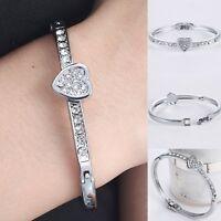Hot Fashion Silver Crystal Love Heart Charm Bracelet Bangle Wedding Jewellery
