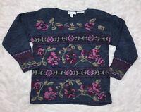 VTG Floral Oversized Sweater Blue Paris Sports Club Cottagecore Womens Large