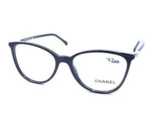 Chanel 3373 Black c.1026 Round Eyeglasses Frames 52-16 140 NEW Italy