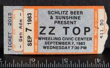 Vintage Zz Top Ticket Stub September 7 1983 Wheeling Wv tob