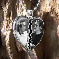 Frankenstein & Bride Universal Horror Silver Broken Heart Glass Pendant Necklace