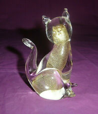 COLLECTION CHAT EN VERRE MURANO INCRUSTATION D'OR
