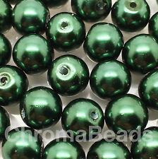 10mm Glass faux Pearls - Moss Green (40 round pearl beads) jewellery making